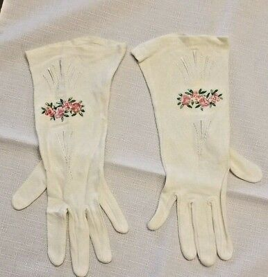 Vintage Women's Embroidered Gloves Rayon