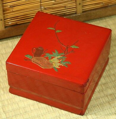 Japanese Vtg Lacquer Box Wood Lid Hand Painted Red Sencha Tea ceremony Square
