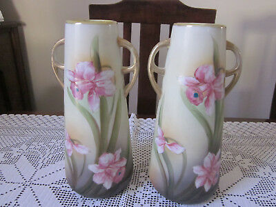 Pair Of Antique I E & C Co Japan Hand Painted Daffodils Mantle Vases