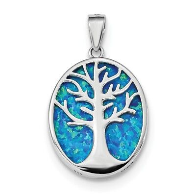925 Sterling Silver Created Opal Tree Of Life Oval Pendant Charm Necklace