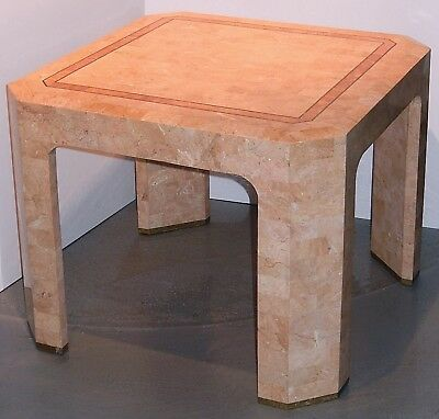 Vintage Maitland Smith Table Tessellated Stone Accent Table Inlaid Brass 1980