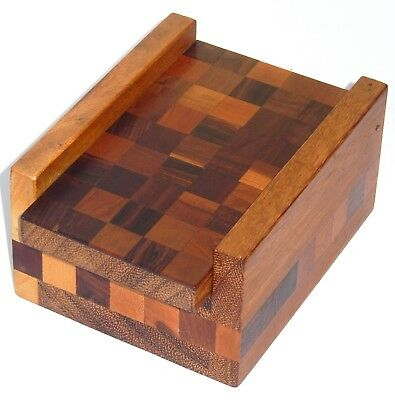 Carved Wood Parquetry Box by Don Shoemaker Mid Century Mexico Senal Label 1960's