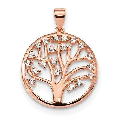 925 Sterling Silver Rose Tone Created White Sapphire Tree Of Life Pendant Charm