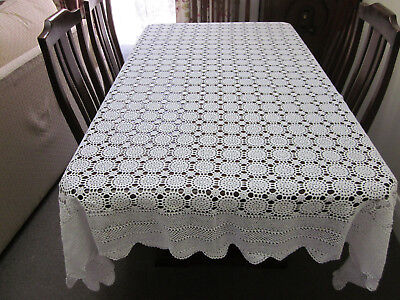 VINTAGE SNOW WHITE RECTANGULAR CROCHET LACE TABLECLOTH 225 cms by 185 cms