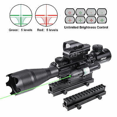 3in1 4-16x50 Rangefinder Rifle Scope W/Green Laser 4 Reticle Dot Sight Scope
