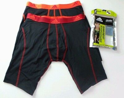 """Adidas Men's Boxer Briefs 2 Pack M L Black 9"""" Midway Long Athletic Red Neon New"""