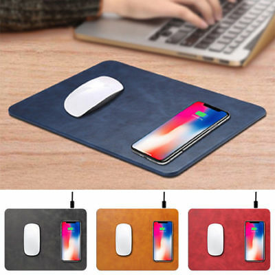 For iPhone X 8 Plus Luxury Qi Wireless Charger Fast Charging Leather Mouse Pad~
