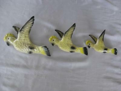 Set Of 3 Ceramic Flying Cockatoos - Wall Decor