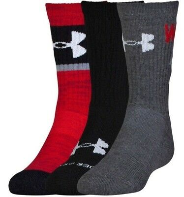 Under Armour NEXT Kids Boys Crew Socks 3 Pack Youth Medium Large Black Grey Red