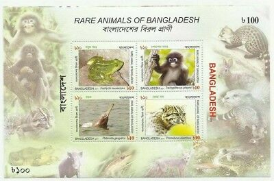 Bangladesh 2011 Mnh Ms Rare Animals Of Bangladesh Frog Leaf Monkey River Dolphin