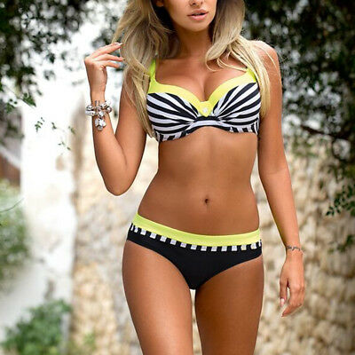 Large Size Striped Patchwork 2018 Women Push up Swimsuits Bikini set Sexy Retro