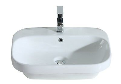 ERIDANUS Carey Counter Top Hand Wash Basin Sink Bowl Bathroom Cloakroom White