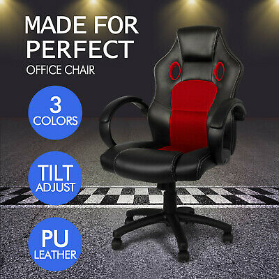 Sports Office Racing Chair Seat Executive Computer Gaming PU Leather Car Deluxe