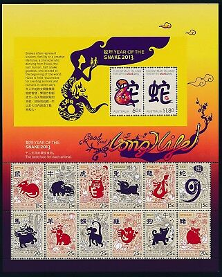 2013 Christmas Island Year Of The Snake Sheetlet Fine Mint Mnh