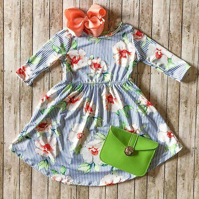 Toddler Kid Baby Girl Long Sleeve Floral Princess Party Pageant Dress Clothes RA