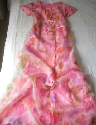 Vintage 1960's Acorn Empire Line Full Length Gown Negligee Pink Flower Power 14
