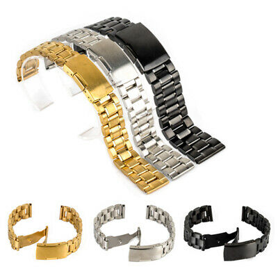 Solid Stainless Steel Deployment Clasp Watch Strap Band Bracelet New 18-24mm