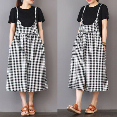 Women Plus Size Retro Check Bib Pants Culottes Loose Dungarees Wide Leg Overalls