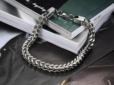 Men Silver Heavy Stainless Steel Square Curb Wheat Chain Link Bracelet Bangle