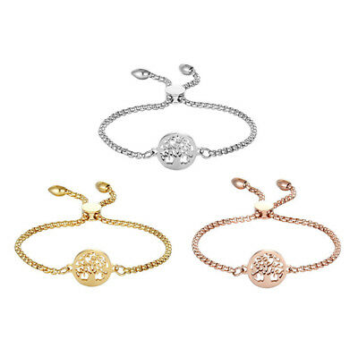 Women Stainless Steel Freely Adjustable Chain Charm Hollow Tree of Life Bracelet