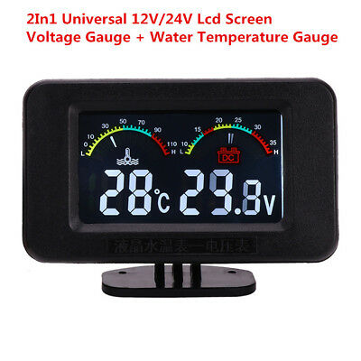 Universal 12V/24V Car LCD Water Temperature Meter Thermometer Voltmeter Gauge