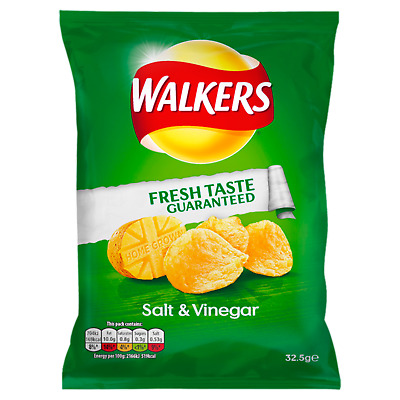(19,85€/1kg) Walkers Crisps Salt & Vinegar 32 x 32,5g