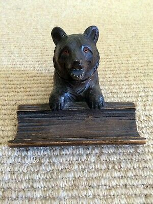 Finely Carved Antique Black Forest Bear Inkwell Glass Eyes Excellent Condition