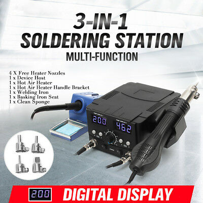 3 in 1 Soldering Iron Hot Air Gun Desoldering Rework Station Digital Solder 750W