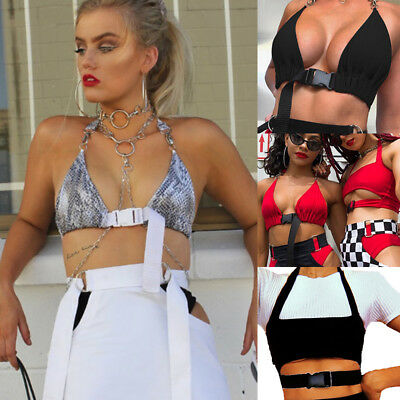 UK Fashion Women Front Buckle Bralette Bralet Bra Bustier Crop Top Unpadded Tank