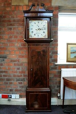Antique Mahogany Longcase Clock Painted Dial I Latham Macclesfield Grandfather