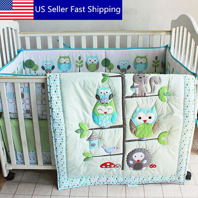 US 7PCS Baby Bedding Set Owl Family Nursery Quilt Bumper Sheet Soft Crib Skirt