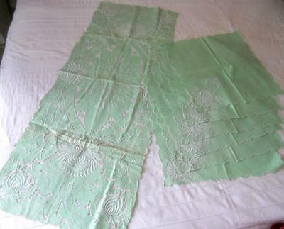 Vintage Pale Green Linen Table Runner & 6 Matching Napkins Cutwork Embroidery