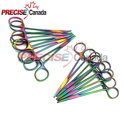 10 Mosquito Hemostat Locking Forceps 5 Curved & 5 Straight Rainbow Multi Color