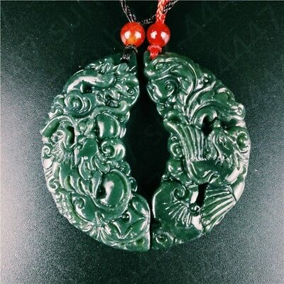 Certified Natural Hetian Jade Dragon Phoenix Couple Pendant Charm Jewelry Hot