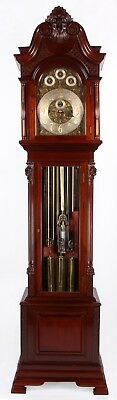 Edwardian Large Mahogany Tube Chiming Clock with Mercurial Pendulum Grandfather