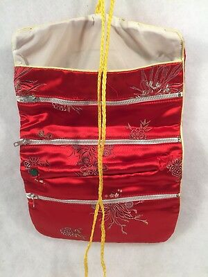 Folding 3 Zippered Red Silk Floral Jewelry/Make-up Storage Bag w/Snap Handle