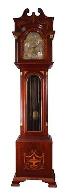 Edwardian Large Mahogany Tube Striking Longcase Clock Antique Grandfather Clock