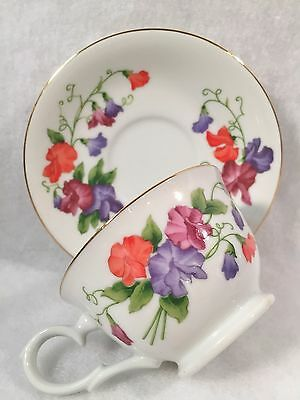 Avon Blossoms of the Month Cup & Saucer Set APRIL - SWEET PEA