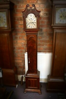 Edwardian Mahogany Grandmother Clock Quarter Chiming Terry Manchester Antique