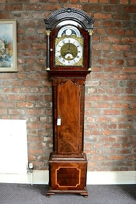 Antique Flame Mahogany Longcase Clock Moon Phase Joshua Hewlett Bristol Antique