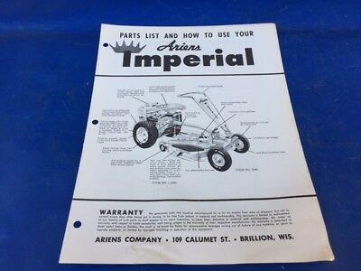 1959 OEM Ariens Imperial Riding Mower Tractor Instruction Owners & Parts Manual
