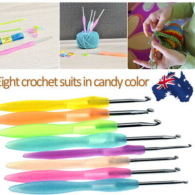 AU 8pc Crochet Hook Set Soft Grip Handles Knitting Needles Multi Colour Aluminum