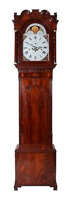 Antique Mahogany Longcase Clock Ting-Tang Movement Grandfather Barnith Rochdale