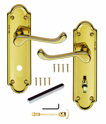 Polished Brass Ashtead Style Locking Bathroom Lever Door Handles WC / Toilet