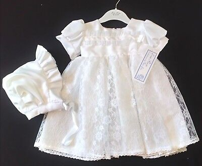 Eva Rose christening dress gown floral lace skirt satin bodice  bonnet 6-12m new