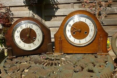 Two Vintage English mantle clocks for spares or repair a Smiths and Bentime