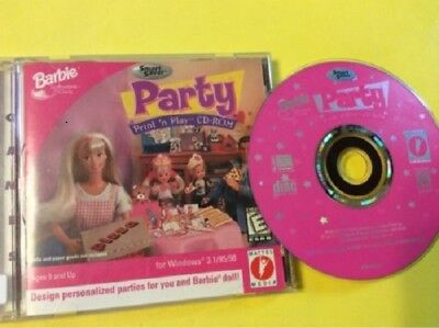 KIDS WINDOWS 98 SOFTWARE - BARBIE PARTY Print n Play CD-ROM - BRAND NEW