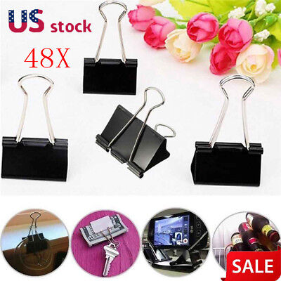 48Pcs Black Metal Binder Clips File Paper Clip Photo Stationary Office Supplies