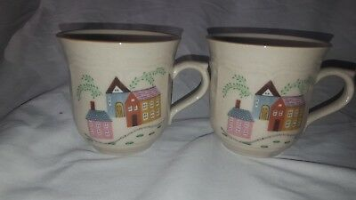 """Vintage Newcor Stoneware 2 Coffee Cups. """"Our Country House"""" Design. Excellent"""