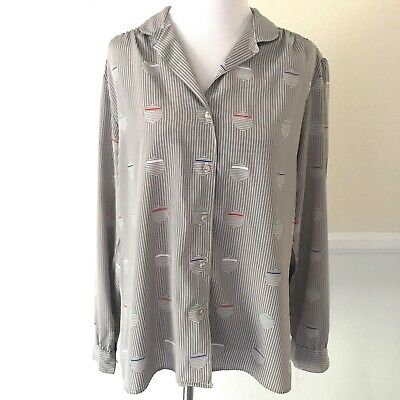 a38af82d237 Nordstrom Town Square Womens Long Sleeve Button Down Shirt Striped Blouse  SZ 16